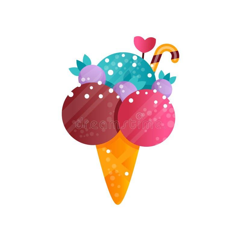 在奶蛋烘饼锥体传染媒介例证的可口五颜六色的冰淇凌在白色背景 向量例证