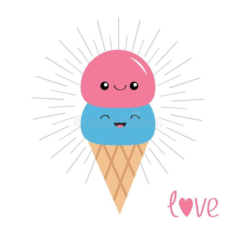 在奶蛋烘饼锥体的冰淇凌 瓢集合 表面微笑 光亮的线作用 逗人喜爱的漫画人物 背景看板卡grunge爱纸张 情人节symb 向量例证
