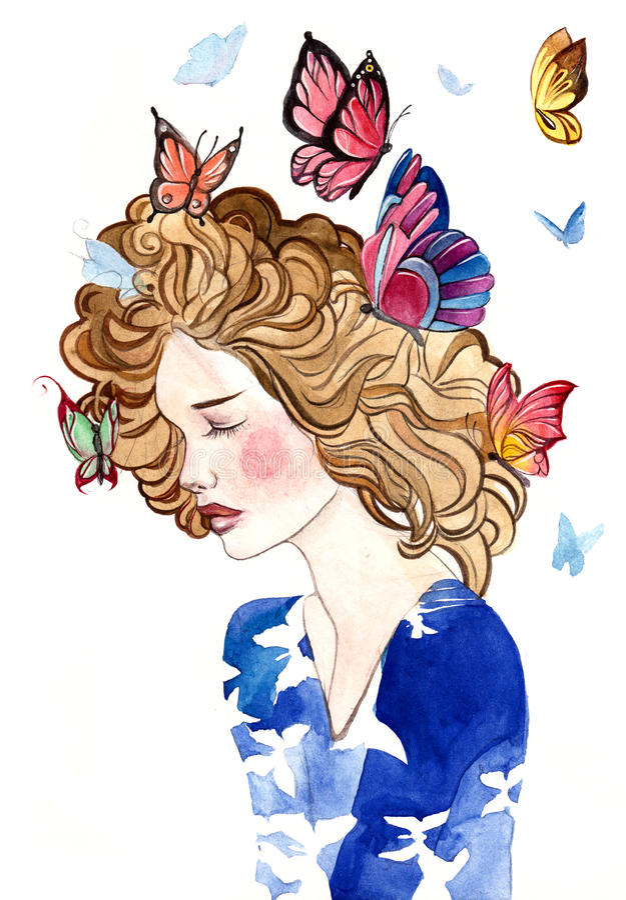 在她的头发的蝴蝶 库存例证