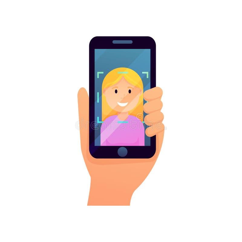 在她的智能手机的白肤金发的女孩用途面貌识别系统安全 库存例证