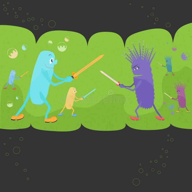 在好和坏Bacteriums之间的争斗 向量例证