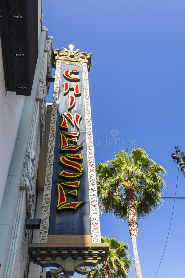 在好莱坞大道,好莱坞,洛杉矶,加利福尼亚,美国,北美洲的中国剧院标志 免版税库存照片