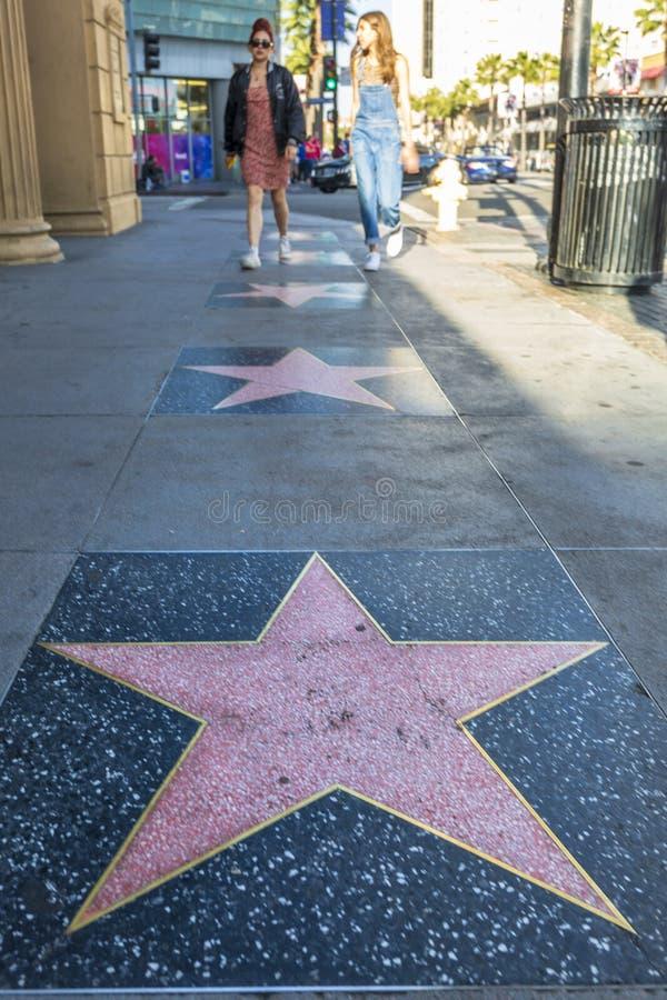 在好莱坞大道,好莱坞,洛杉矶,加利福尼亚,美国,北美洲的空的星 图库摄影