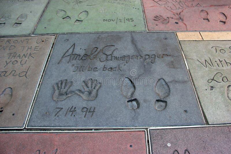 在好莱坞大道,洛杉矶,卡利的好莱坞星光大道 库存照片
