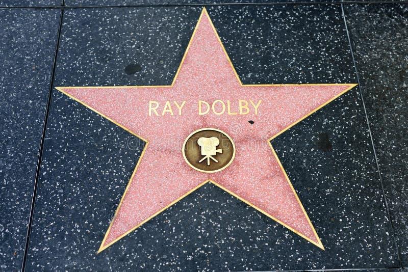 在好莱坞星光大道的光芒杜比星 免版税库存图片