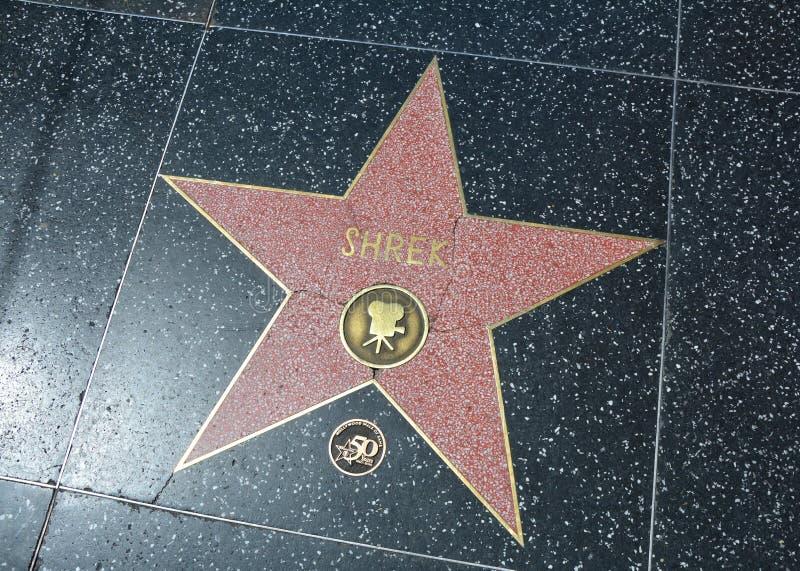 在好莱坞星光大道的史瑞克星 库存图片