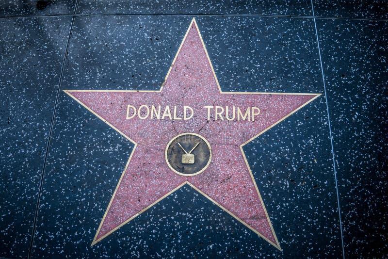 在好莱坞星光大道的唐纳德・川普总统的星在好莱坞的洛杉矶加利福尼亚 免版税库存图片