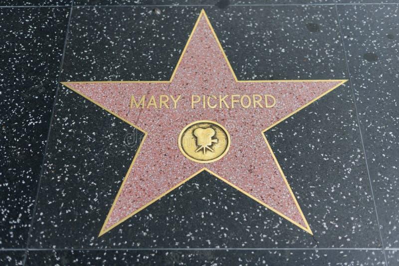 在好莱坞星光大道的玛丽・毕克馥星 免版税库存照片
