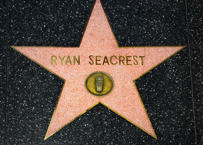 在好莱坞星光大道的瑞安・西克雷斯特星 免版税库存照片