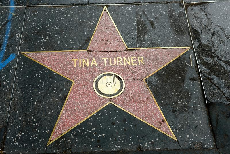 在好莱坞星光大道的蒂娜・特纳星 库存图片
