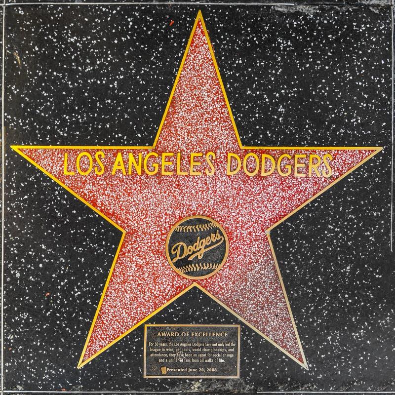 在好莱坞星光大道的洛杉矶道奇星 免版税图库摄影