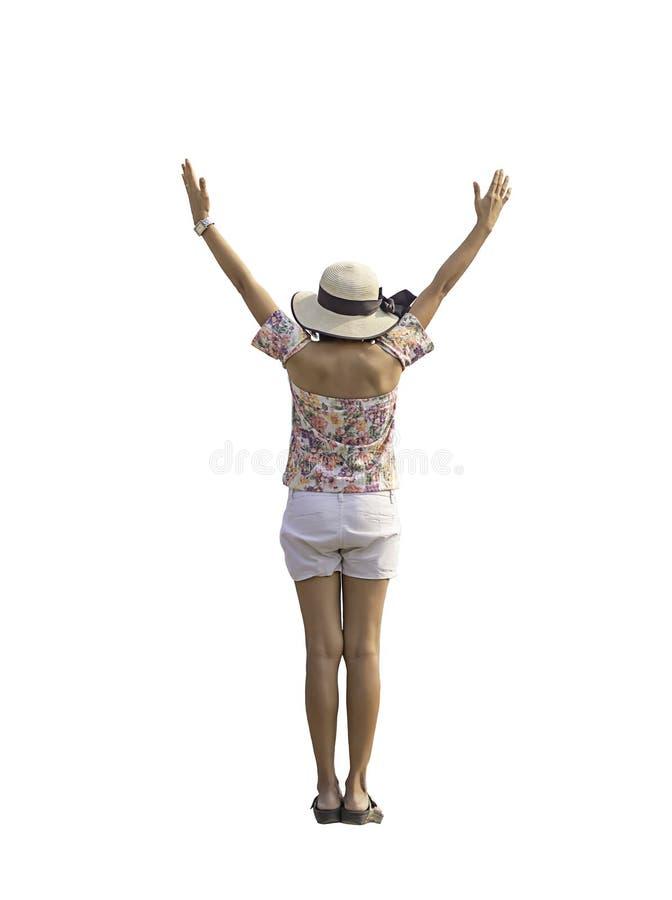 在妇女后的图象举他们的在白色背景的胳膊与裁减路线 免版税库存图片