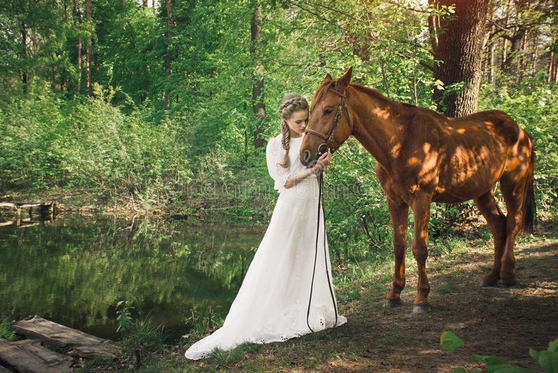 在妇女和马之间的美好的友谊 库存图片