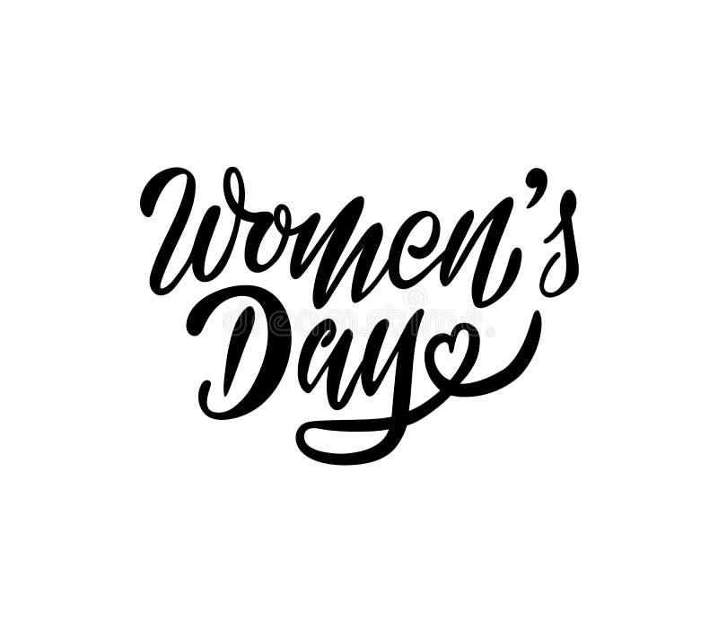 在妇女天卡片或邀请的构成上写字 库存例证