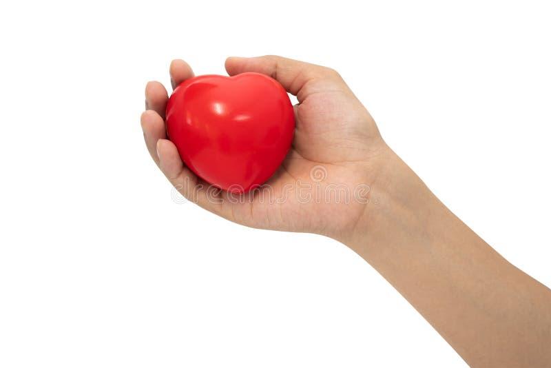 在妇女手上的红心形状 库存图片