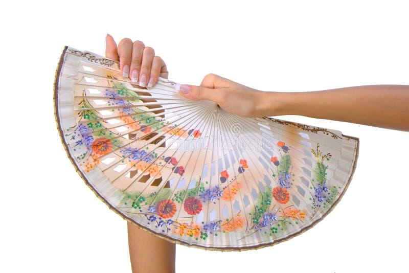 在妇女现有量的美丽的风扇 免版税库存照片