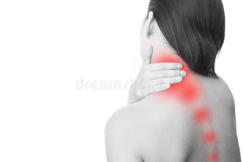 在妇女的脖子的痛苦 库存照片
