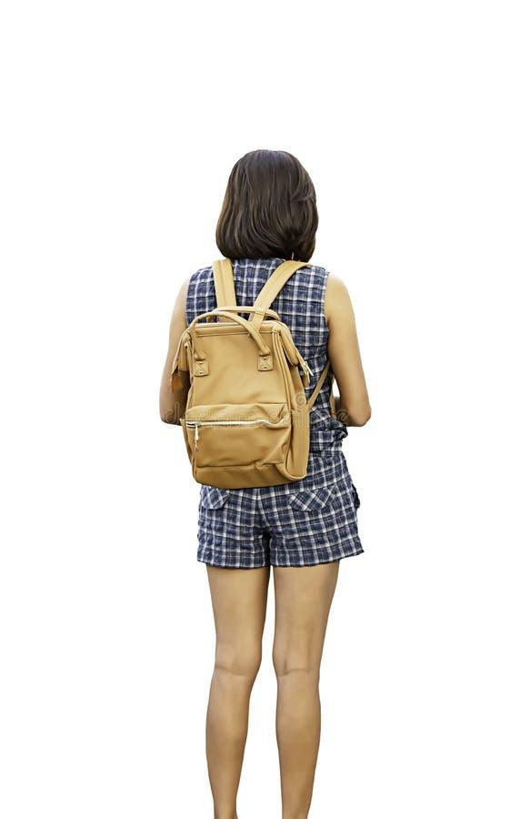 在妇女肩膀背包后的图象在与裁减路线的白色背景 免版税库存图片