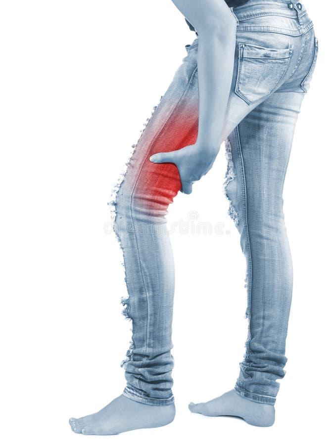 在妇女腿筋的痛苦 库存照片