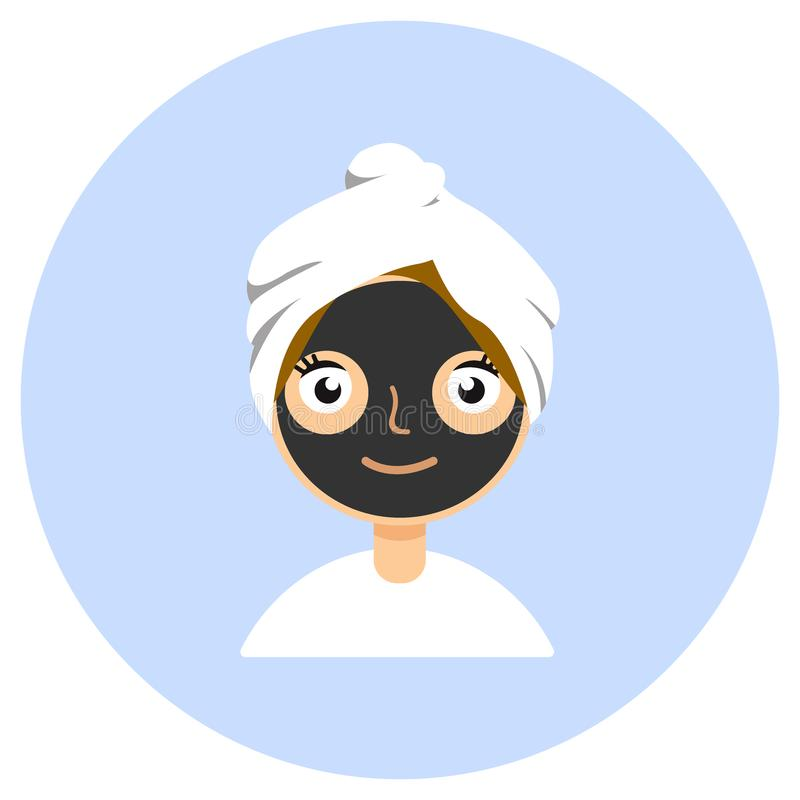 在妇女s面孔的黑化妆面具 秀丽治疗,护肤和洗涤的概念 查出在白色 向量例证