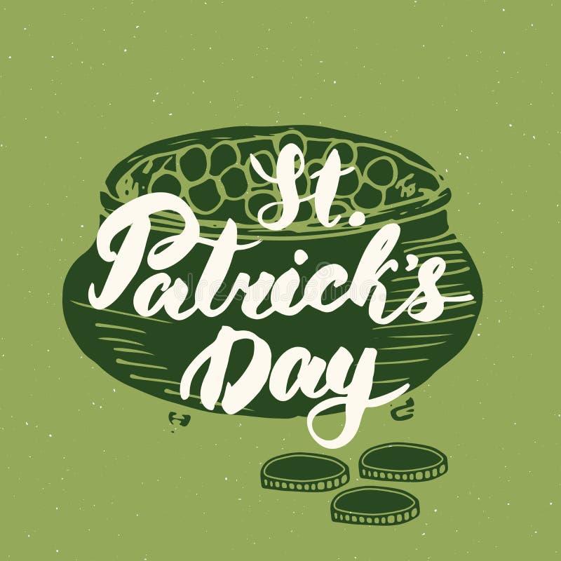 在妖精金壶的愉快的圣帕特里克` s天葡萄酒贺卡手字法铸造剪影,爱尔兰假日难看的东西textu 皇族释放例证