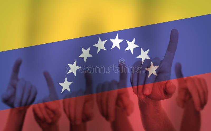在委内瑞拉旗子的背景的抗议手 查出的黑色概念自由 图库摄影