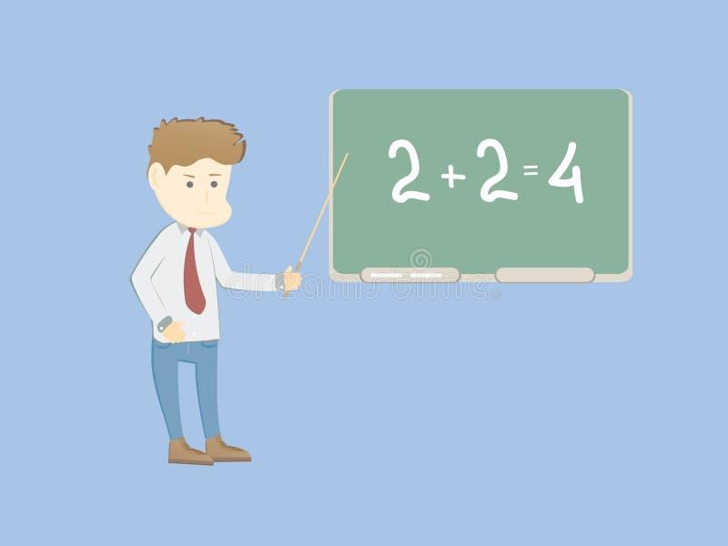 在委员会附近的动画片年轻学校教师教 免版税库存照片