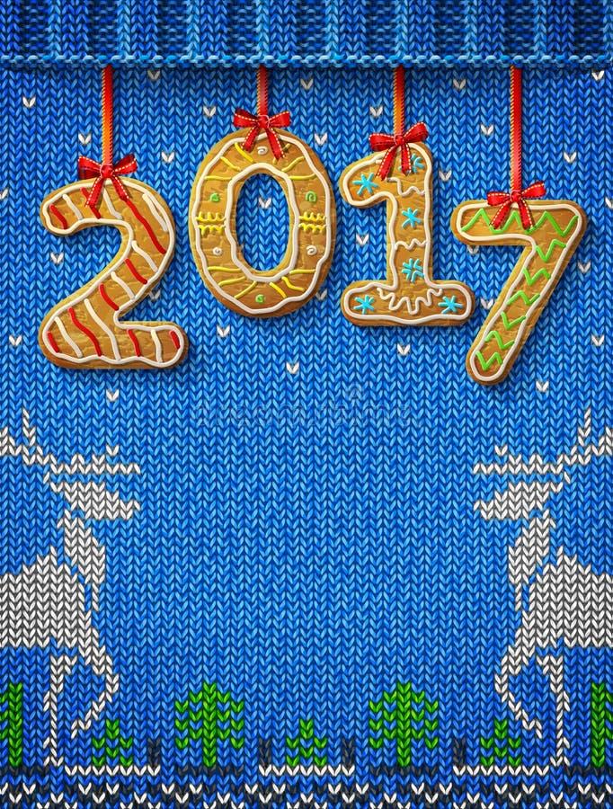 在姜饼形状的新年2017年反对被编织的背景的 皇族释放例证
