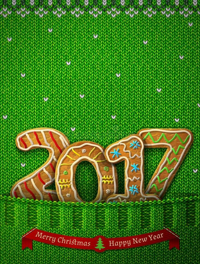 在姜饼形状的新年2017年在被编织的口袋的 皇族释放例证