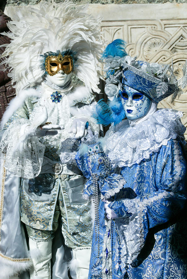 在威尼斯狂欢节的美好的狂欢节面具,意大利 免版税图库摄影