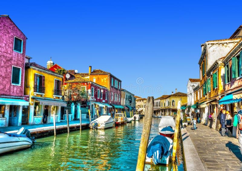 在威尼斯附近的Murano海岛在意大利 图库摄影