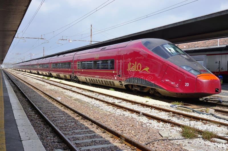 在威尼斯驻地的意大利高速火车 免版税库存照片