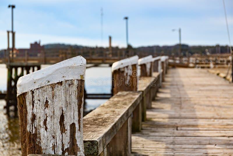 在威斯卡西特缅因的老江边走道 库存照片