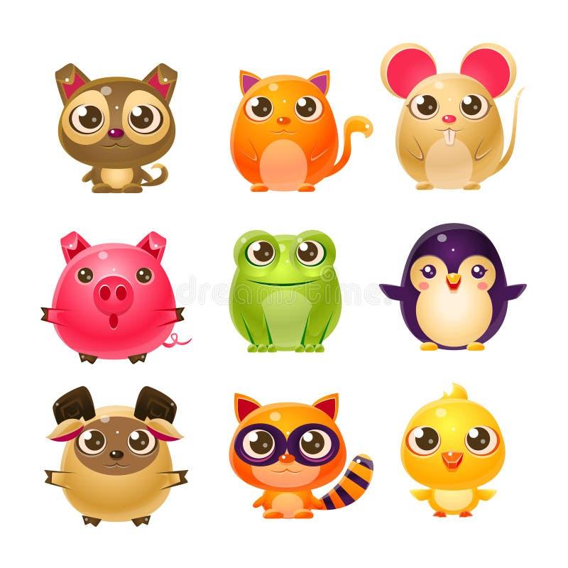 在娘儿们设计的甜小动物 向量例证