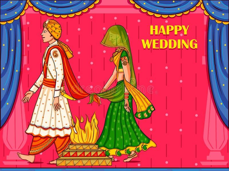 在婚礼印度的Satphera仪式的印度夫妇 向量例证