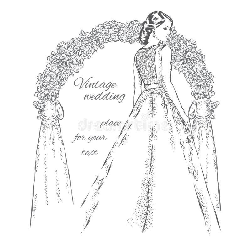 在婚礼曲拱附近的美丽的新娘 婚姻 婚礼礼服的美丽的女孩 库存例证