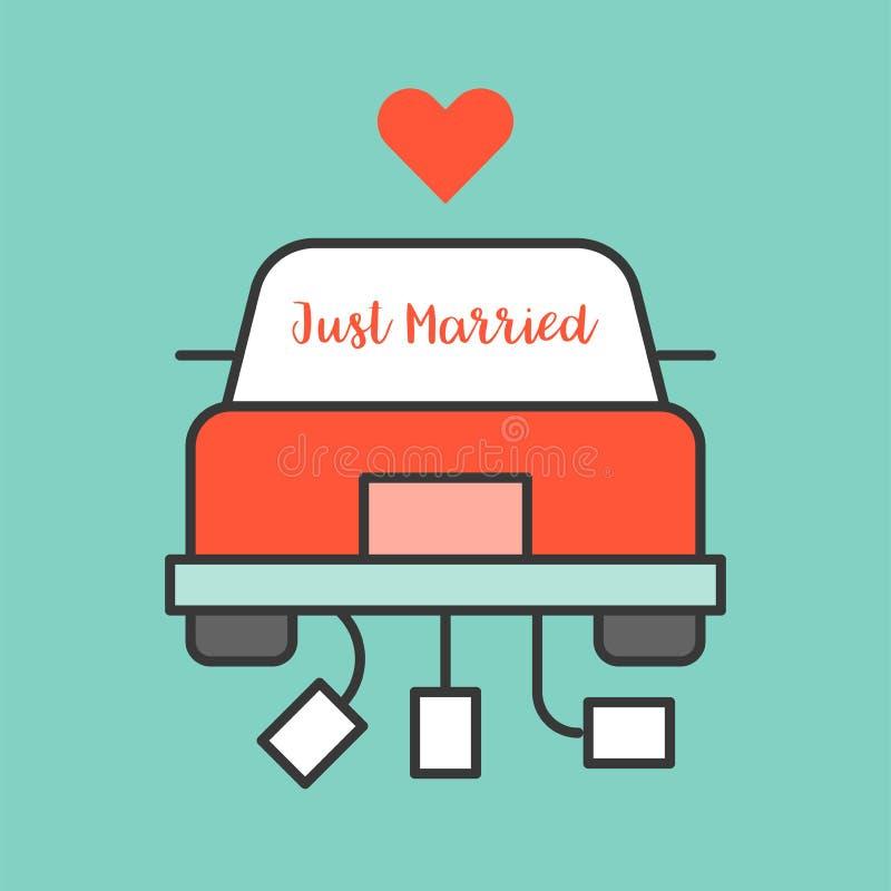 在婚礼汽车的结婚的标志 向量例证