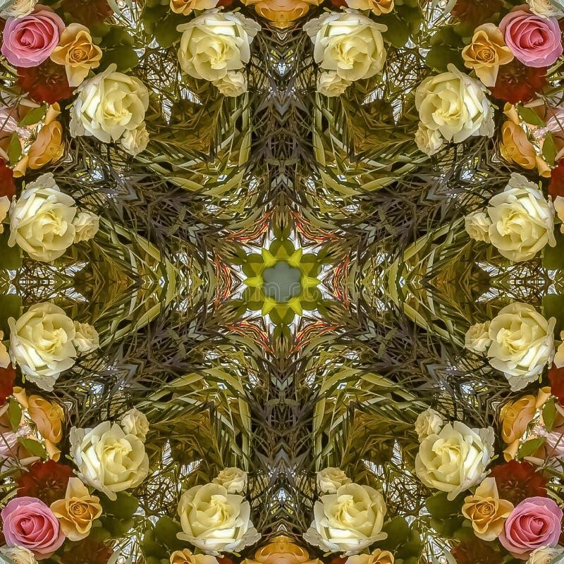 在婚礼的正方形五颜六色的花卉设计被创造入一个装饰背景设计 库存图片