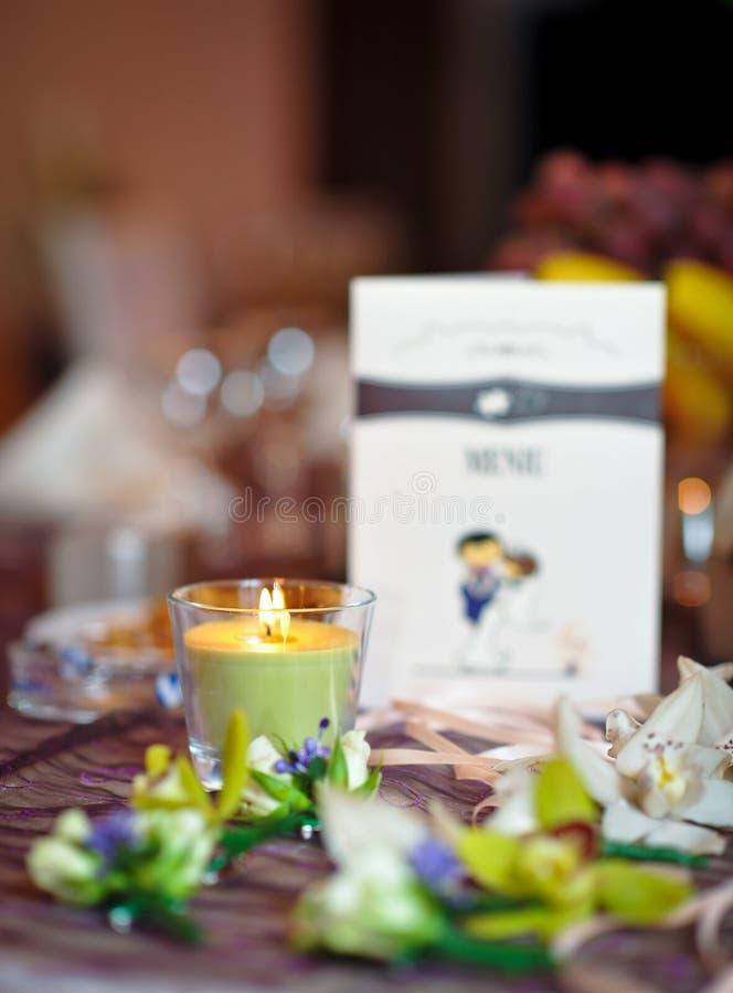 在婚礼细节的植物布置 免版税库存照片