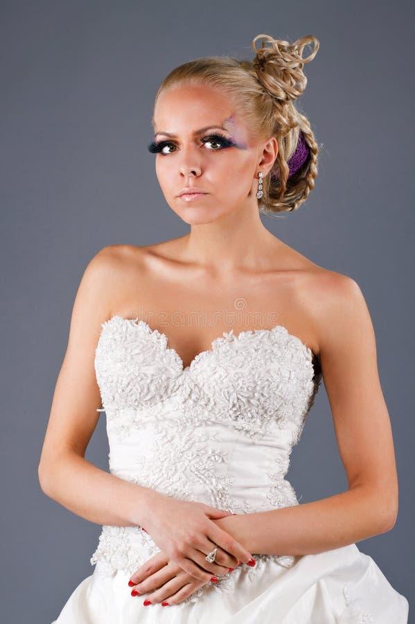在婚礼dressd的模型 免版税库存图片
