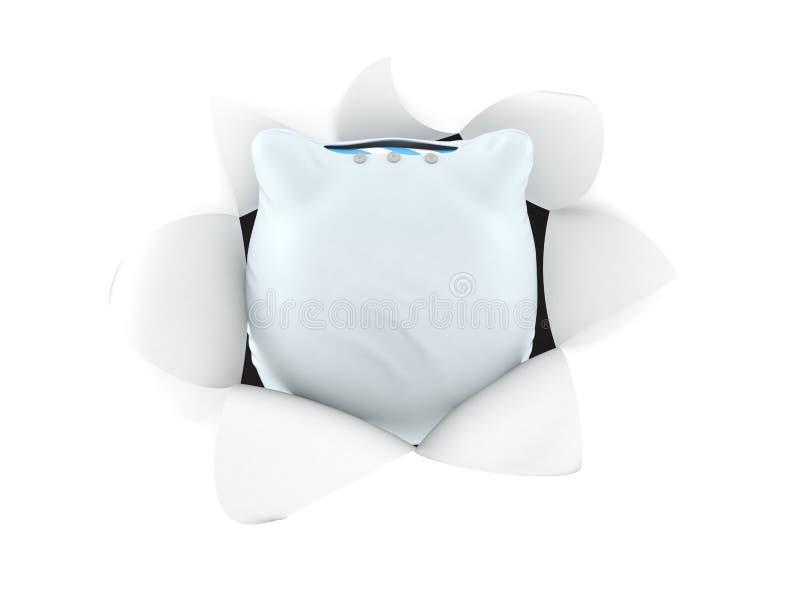 在孔里面的枕头从被撕毁的纸 皇族释放例证