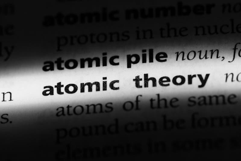 在字典的原子学说词 原子学说概念 免版税库存图片