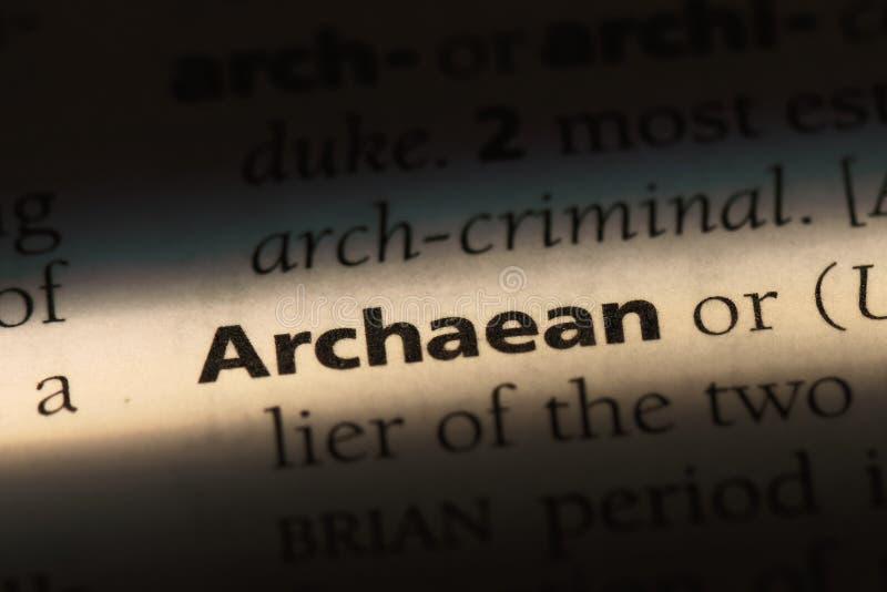 在字典的太古代的词 太古代的概念 免版税库存图片