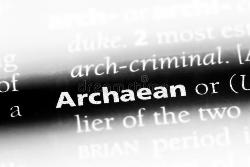 在字典的太古代的词 太古代的概念 免版税图库摄影