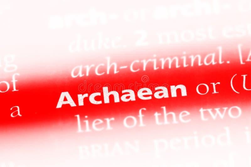 在字典的太古代的词 太古代的概念 库存图片