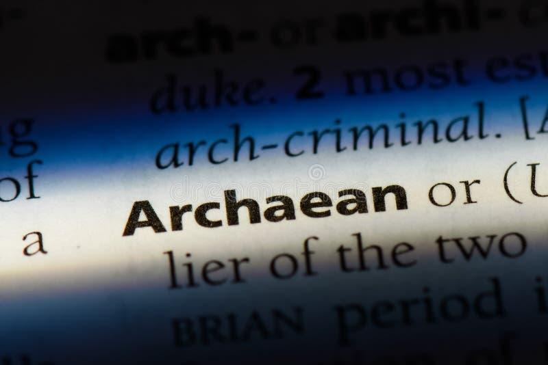 在字典的太古代的词 太古代的概念 库存照片