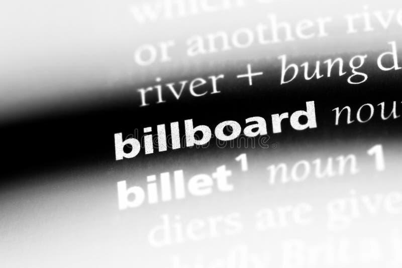 在字典的广告牌词 广告牌概念 免版税库存照片