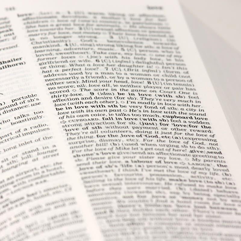 在字典的爱词 免版税库存照片