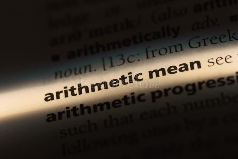在字典的算术均数词 算术均数概念 库存图片