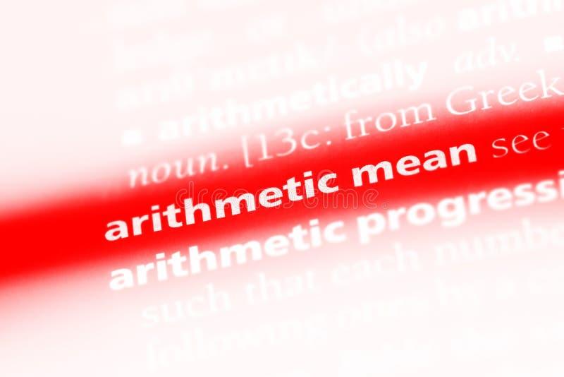 在字典的算术均数词 算术均数概念 图库摄影